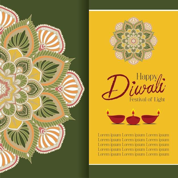 Joyeux diwali avec mandala oil lamp design vector