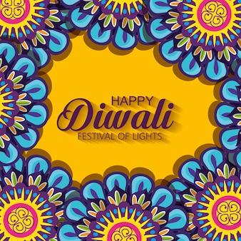 Joyeux diwali avec des mandalas