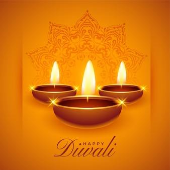 Joyeux diwali souhaite un fond avec des lampes à huile diya