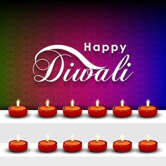 Joyeux diwali texte avec belle lemps huile sur étagère