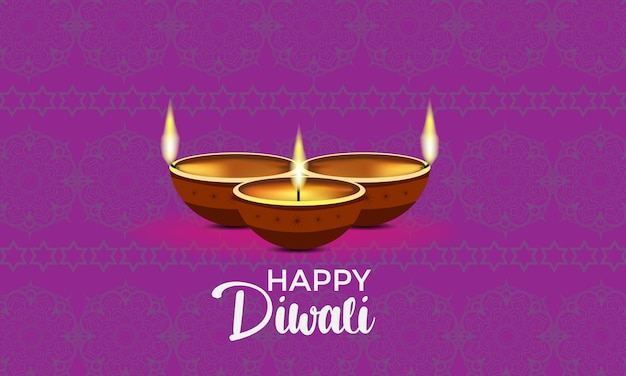 Joyeux diwali avec trois bougies diya