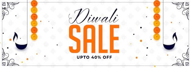 Joyeux diwali vente bannière avec diya et fleur de souci