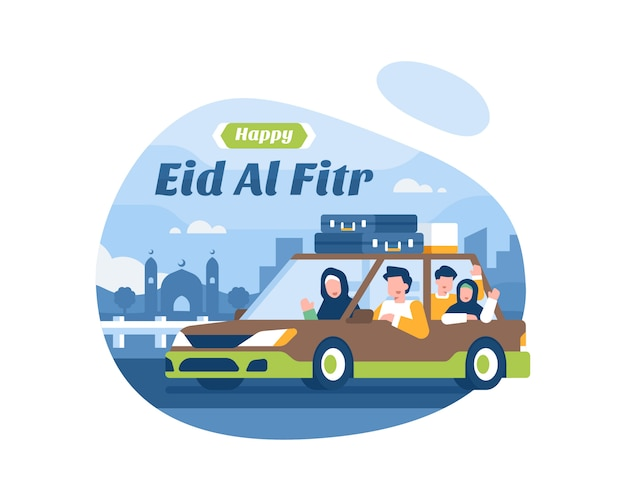 Joyeux eid al fitr fond avec la famille musulmane en vacances à l'aide d'illustration de transport de voiture
