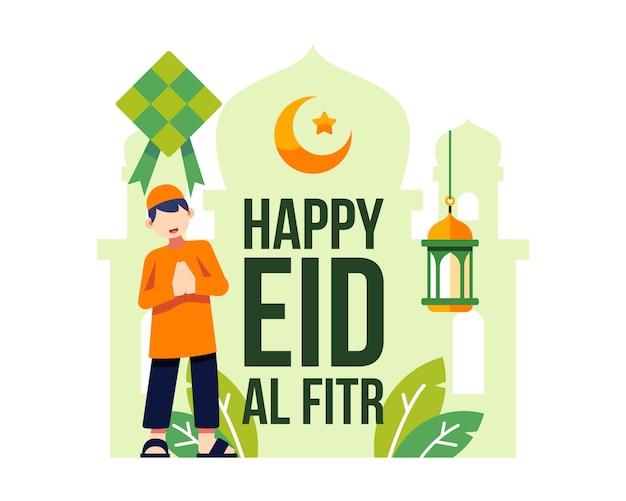 Joyeux eid al fitr fond avec illustration de caractère jeune garçon musulman