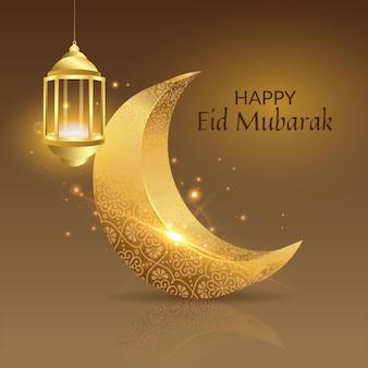 Joyeux eid mubarak lune dorée et fanoos