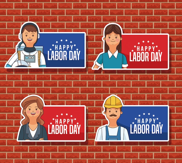 Joyeux emblèmes de la fête du travail