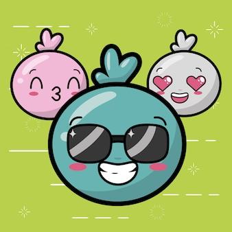 Joyeux emojis, jolis visages de kawaii