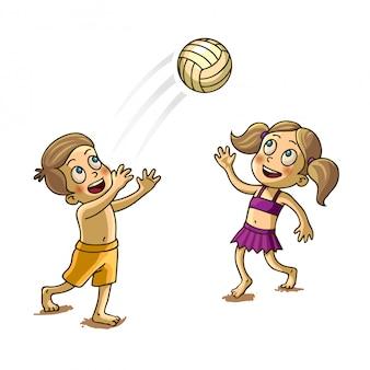 Joyeux enfants jouant avec une balle vector illustration