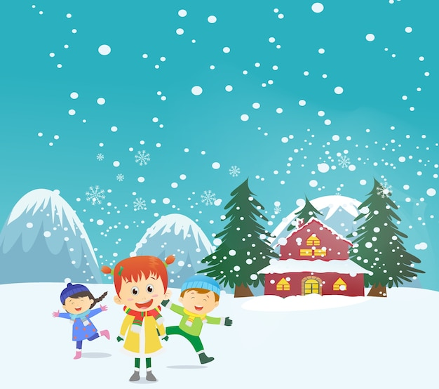 Joyeux enfants jouant à l'extérieur en hiver