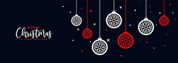 Joyeux festival de bannière de décoration de boule de noël