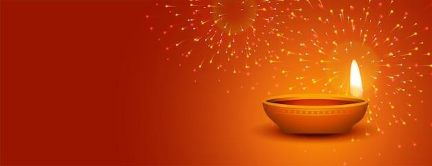 Joyeux festival de diwali de bannière de feux d'artifice légers