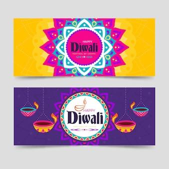 Joyeux festival de diwali des bannières de lumières