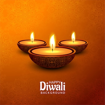 Joyeux festival de diwali avec fond de carte de célébration de lampe à huile décorative