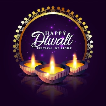 Joyeux festival de diwali de fond clair