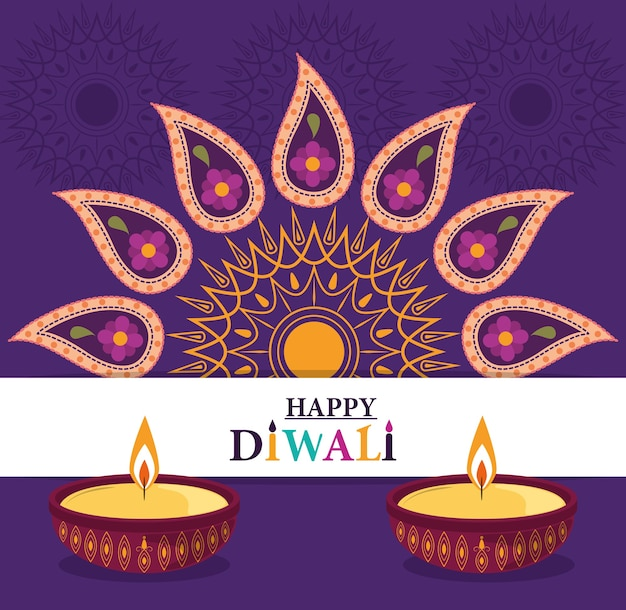 Joyeux festival de diwali, lampes diya bougies décoration florale de fleurs de mandala