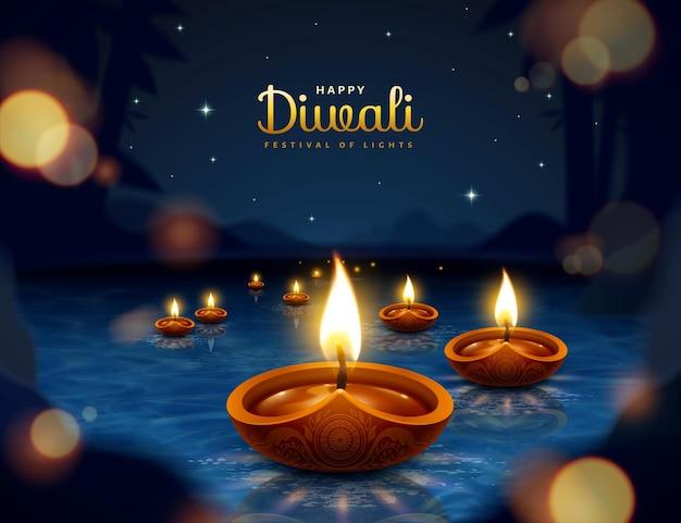 Joyeux festival de diwali avec des lampes à huile sur fond de nuit étoilée bokeh