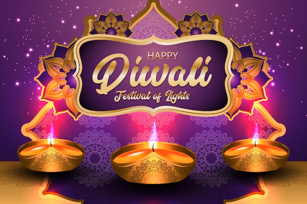 Joyeux festival de diwali des lumières avec illustration de lampe à huile dorée
