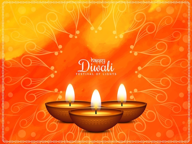 Joyeux festival de diwali saluant aquarelle lumineuse