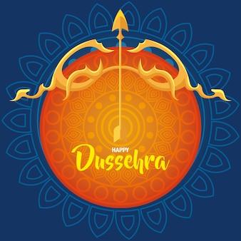 Joyeux festival de dussehra avec arc d'or et flèche sur fond orange et bleu