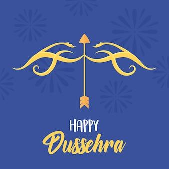 Joyeux festival de dussehra de l'inde, flèche d'or arc arme illustration de fond bleu classique