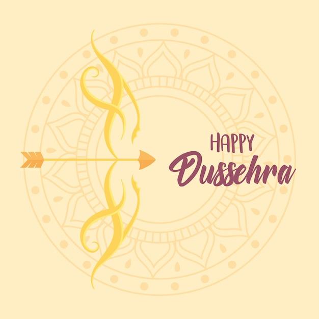 Joyeux festival dussehra de l'inde fond de mandala arc et flèche or