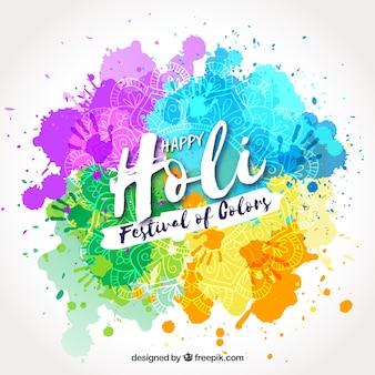 Joyeux festival holi de couleurs dessinés à la main fond