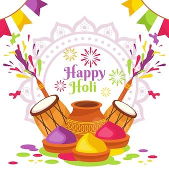 Joyeux festival de holi avec tambours et gulal