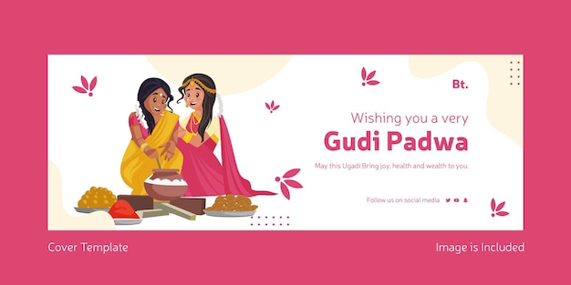 Joyeux festival indien de gudi padwa avec des femmes indiennes cuisinant des aliments ensemble modèle de couverture facebook