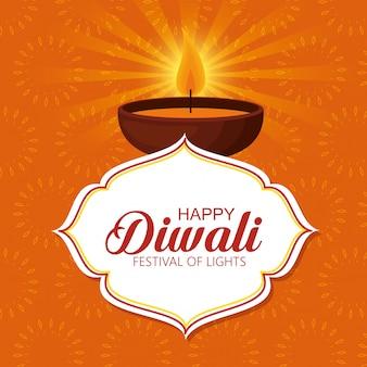 Joyeux festival de lumières avec bougie diwali