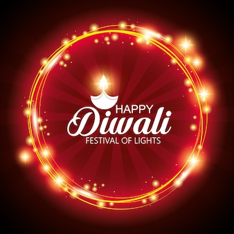 Joyeux festival de lumières diwali avec mandala