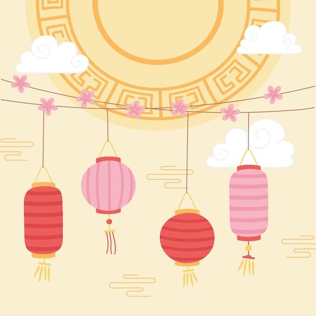 Joyeux festival de mi-automne, cordes avec lanternes et fleurs de sakura