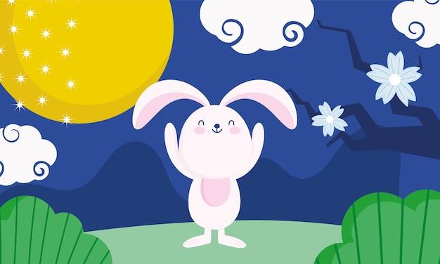 Joyeux festival de mi-automne, lapin pleine lune fleurs herbe nature, bénédictions et bonheur
