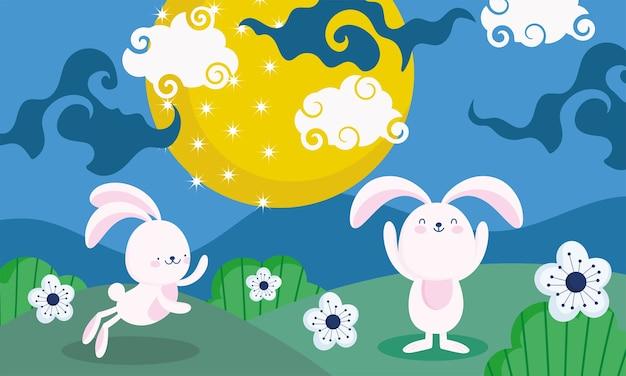 Joyeux festival de la mi-automne, paysage de fleurs de lune lapins, bénédictions et bonheur