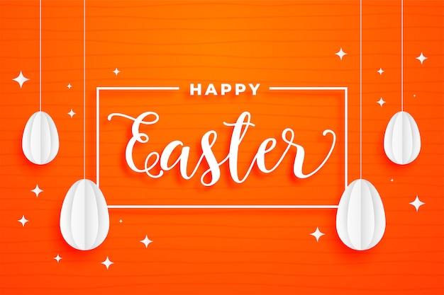 Joyeux festival de pâques carte orange fond de vacances