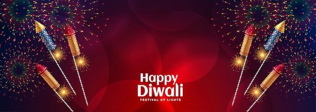 Joyeux feu d'artifice de célébration de diwali avec des craquelins éclatants