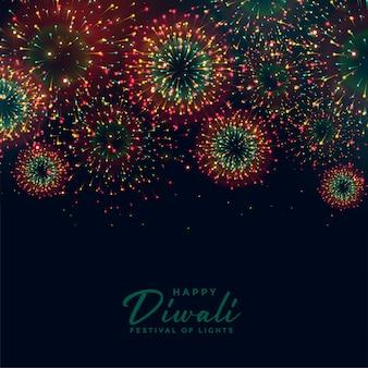 Joyeux feu d'artifice de fête de diwali dans un style coloré