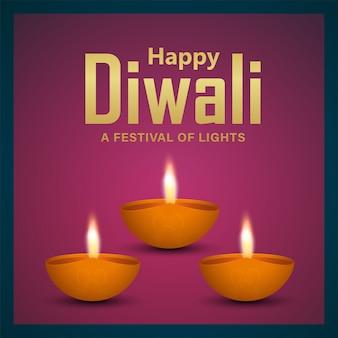 Joyeux fond de célébration de diwali avec diwali diya