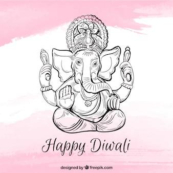 Joyeux fond de Diwali avec ganesha