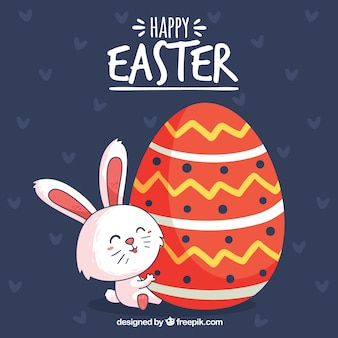 Joyeux fond de jour de Pâques avec mignon lapin