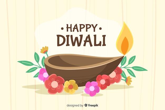 Joyeux fond de diwali aux chandelles