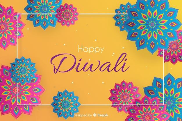 Joyeux fond de diwali dans le style de papier