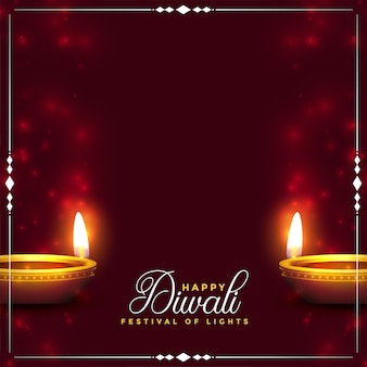 Joyeux fond de diwali avec un design réaliste de diya