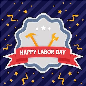 Joyeux fond d'emblème de la fête du travail