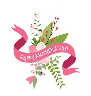 Joyeux fond de la fête des mères avec des fleurs