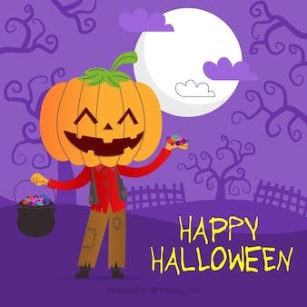Joyeux fond d'halloween avec un personnage de citrouille