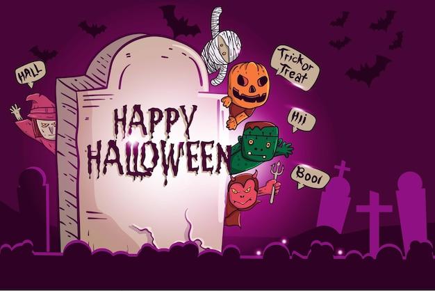Joyeux fond d'halloween avec des personnages de dessins animés mignons