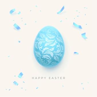 Joyeux fond de pâques avec oeuf de pâques décoratif et confettis lumineux