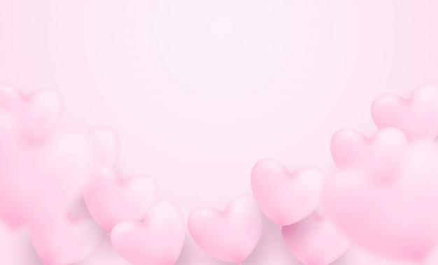 Joyeux fond de saint valentin. avec des ballons coeur rose sur fond rose. .
