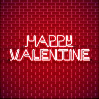 Joyeux fond de saint valentin avec coeur néon vecteur rose vif sur les murs de briques rouges