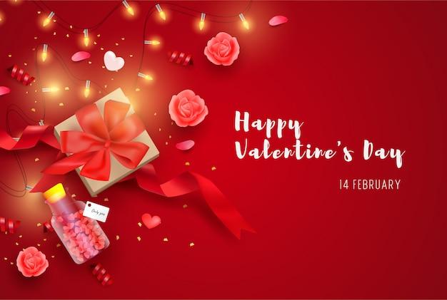 Joyeux fond de saint-valentin avec des éléments réalistes, boîte-cadeau et paillettes